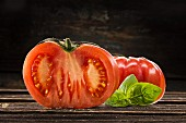 A beefsteak tomato, sliced