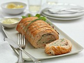 Salmon roulade, sliced