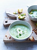 Pea soup with avocado