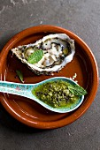 Spiced green chutney and mint oysters