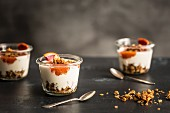 Crunchy muesli with yoghurt and blood orange compote