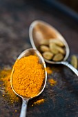 Cardamon and turmeric in small spoons