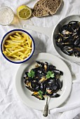 Mussels with fries (seen from above)
