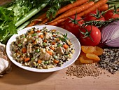 Wild rice with vegetables, chicken and dried apricots