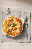 Filo pastry dish with roasted butternut squash, feta and thyme