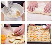 Aprikosen-Apfelkuchen mit Quark-Öl-Teig zubereiten