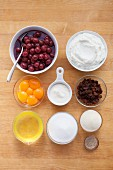 Ingredients for cheesecake with sour cherries