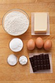 Ingredients for chocolate chunk muffins