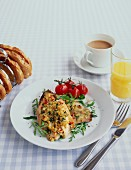 Fish breakfast: Fish fillets with breadcrumbs, toast, coffee and orange juice