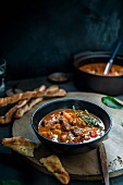 Goulash soup with breadsticks