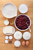 Ingredients for crumble cake with sour cherries