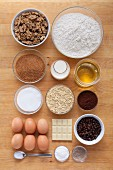 Ingredients for walnut and chocolate brownies with white chocolate