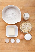 Ingredients for butter cake with almonds