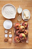 Ingredients for apple crumble cake