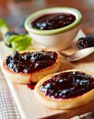 English muffins with mulberry jam