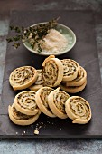 Parmesan wheels filled with fresh cheese