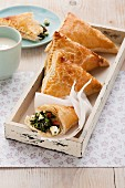 Spinach and sheep's cheese pasties (in puff pastry)