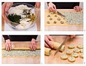 Parmesan-Schnecken mit Frischkäsefüllung backen
