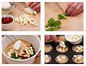 Mozzarella-Muffins mit getrockneten Tomaten backen