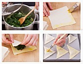 How to make puff pastry pies filled with spinach and sheep's cheese