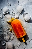 A melting ice lolly lying between ice cubes (top view)