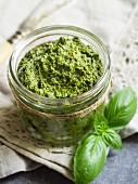 Vegan green pesto in a jar