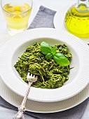 Spiralized zucchini pasta with vegan green pesto
