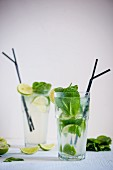 Fresh lemonade with mint and limes
