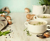 Creamy Mushroom Soup on wooden table