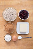 Ingredients for oatmeal cookies with dried cranberries