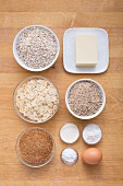 Ingredients for oatmeal and nut biscuits