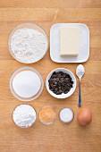 Ingredients for making orange and pumpkin drop biscuits