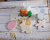 Carrot, egg and rabbit shaped Easter biscuits