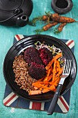 Beetroot patties with buckwheat and carrot