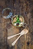 Miso ramen soup with shiitake mushrooms, tofu and spring onion