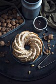 Vegan walnut ring-shaped 'Gugelhupf' cake
