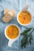 Vegan coconut and carrot soup with dill