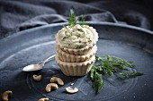 Vegan cashew and dill spread in puff pastry cases