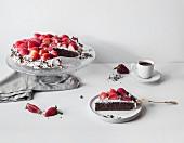 A gluten-free buckwheat cake with strawberries