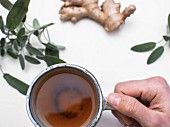 A hand holding a cup of sage and ginger tea (seen from above)
