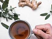 Hand hält eine Tasse Salbei-Ingwertee (Aufsicht)