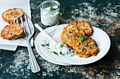 Asparagus fritters with prawns and mint yoghurt