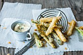 Mixed asparagus tempura with coriander mayonnaise