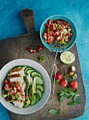 Chicken bowl with strawberry and avocado salsa