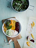 Quinoa bowl with winter beets and a feta and avocado dip