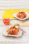 Filled smoked salmon parcels with caviar