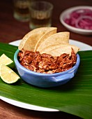 Pulled chicken with corn tortillas and limes (Mexico)