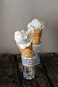 Vegan chai ice cream in cones