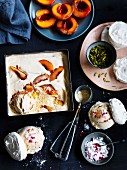 Roast peach ice-cream meringue sandwiches with raspberry sherbet