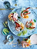 Rockmelon, Lime and Poppy seed prawn cocktails